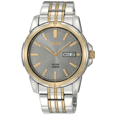Seiko SNE098 Mens Two Tone Steel Solar Quartz Charcoal Dial Day / Date Watch
