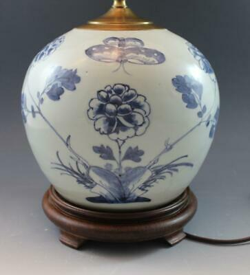 Antique Chinese Canton Blue & White Ginger Jar Table Lamp Floral & Butterfly