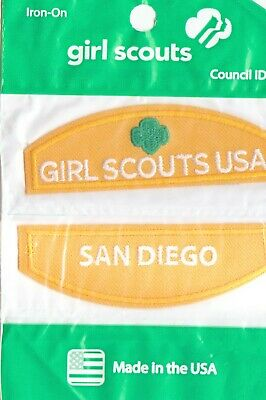 San Diego ~ Daisy Yellow Girl Scouts Council ID Patch Set NEW Made in USA