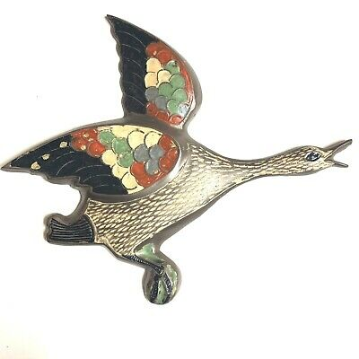 Vintage Brass Metal Goose Duck In Flight Flying Enamel Wall Hanging