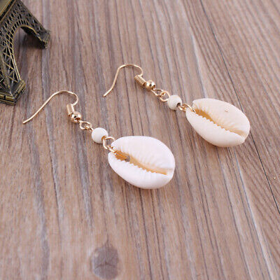 Golden Mermaid Natural Shell Shell Sea Earrings Ear Hook Beach Jewelry Gifts LG