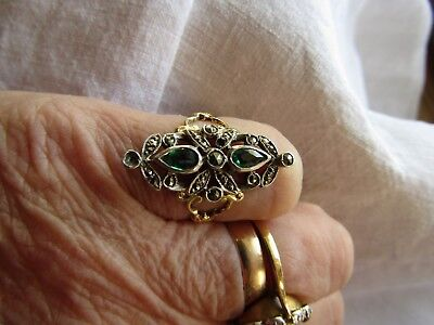 Stunning Antique French 18Ct Gold Silver Emerald ? & Marcashite Ring A/F