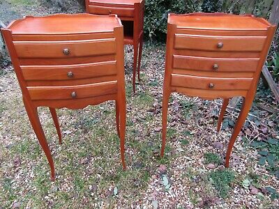 Pair Pretty Little French Cherrywood Fruitwood Bedside Lamp Tables Cabinet Draws