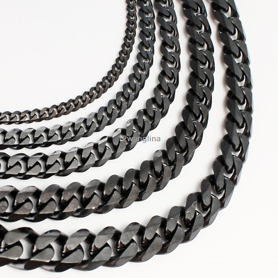3/5/7mm MENS Boy Chain Black Tone Curb Link Stainless Steel Necklace 18-36''