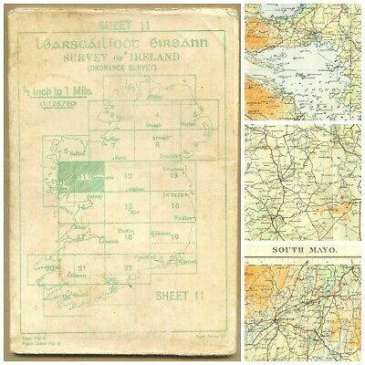OS MAP Mayo 1957 Castlebar Headford Shrule Tuam Oughterard Westport Claremorris