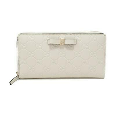 79cccabf67d0 Authentic GUCCI Guccissima round long wallet Purse 388680 Leather Ivory
