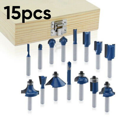 Router Bits 1/4 Inch Shank Tungsten Carbide Rotary Power ToolAccessories 15pcs