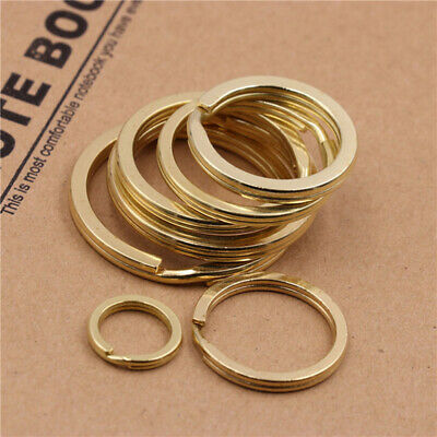 """Pure brass Split key Rings Double Loop Leather craft hardware 9/16""""~1-1/2"""""""
