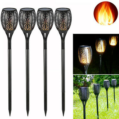 2//4X96LED Flame Solar Torch Light Waterproof Flickering Dancing Path Garden Lamp