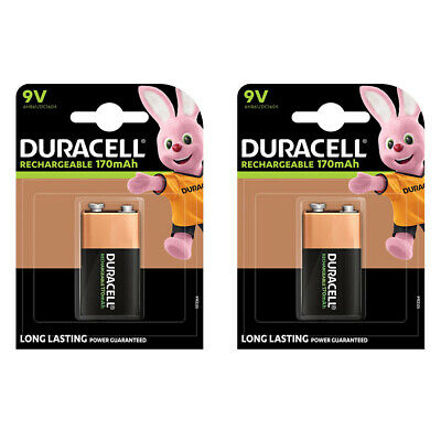 2x Duracell ULTRA 9V Rechargeable Battery NiMH MN1604 HR22 170mAh Capacity