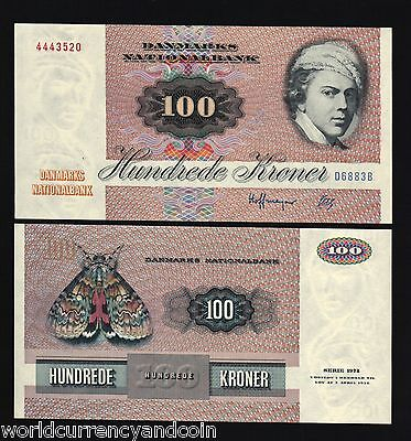 Denmark 100 Kroner P51 1988 Euro Butterfly Unc World Money Bill Eu Bank Note