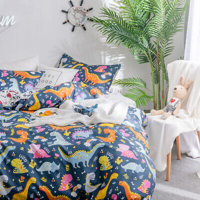 Cartoon Dinosaur Quilt Doona Duvet Cover Set Single/Double/Queen/King Size Bed