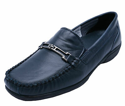 Womens Navy Genuine Leather Cotswold Shirley Loafers Slip-On Casual Shoes 3-8