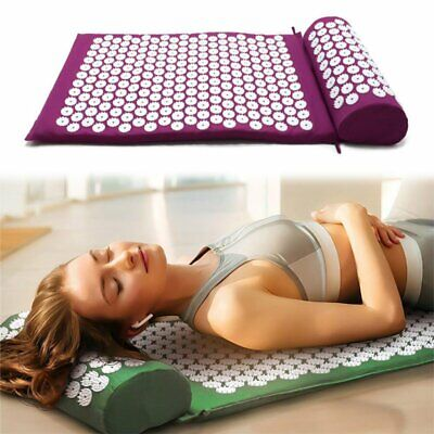 Acupressure Mat and Pillow Back Neck Pain Stress Tension Muscle Relaxation WS