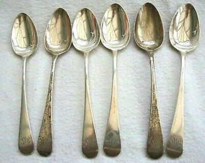 Antique George Iii Sterling Solid Silver Set Six Teaspoons Spoons Sovereign Head