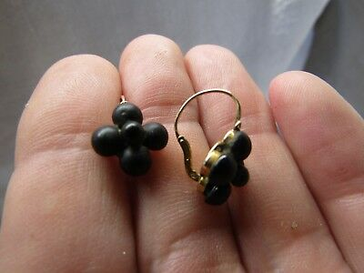 Lovely Pair Antique 19Th C. French 18Ct Gold French Jet? Earrings