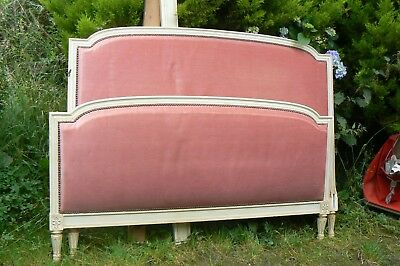 Antique/vintage French Original Painted Large Double Upholstered Capitonne Bed