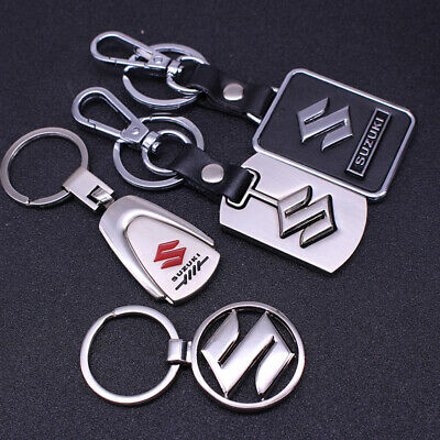 Metal alloy Leather car logo Keychain Key Ring pendant Key Holder Fit For Suzuki