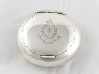 ANTIQUE SOLID STERLING SILVER SNUFF BOX 1911 ROYAL ARMY MEDICAL CORPS 56 g