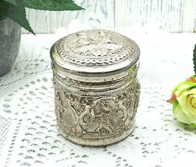 Antique repoussé silver plated Burmese betel box, betel nut pot betel leaf caddy