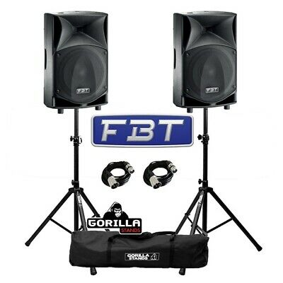 """FBT JMaxX 110A Active 900W 10"""" DJ Disco PA Speaker (Pair) with Stands & Cables"""