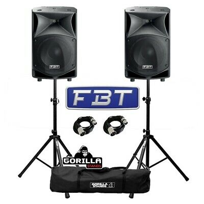 """FBT JMaxX 112A 900W 12"""" Active DJ Disco PA Speaker (Pair) with Stands & Cables"""