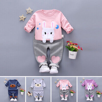 Set Pants Clothes T-Shirt Outfits Autumn Warm 2pcs Toddler Baby Boys Rabbit Long