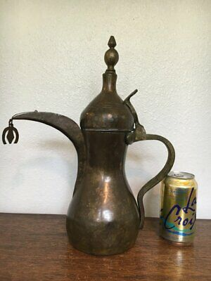 19 century Large Antique Dallah Pot Arabic Coffee Hammered Handmade middle easte