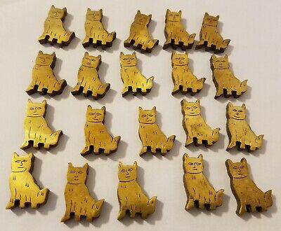 20 Pcs VTG Metallic Gold Kitty Cat Carved Wood Beads Charms Crafts Jewelry