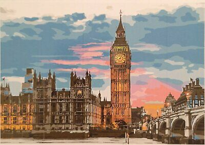 Paint by numbers Big Ben vanaf rivier The Thames