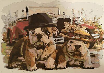 Paint by numbers Bulldog puppies