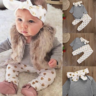 Set Baby Headband Romper Newborn 3pcs Outfits Clothes Long Tops Toddler Girl
