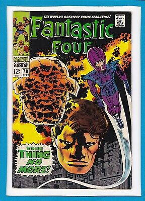 """Fantastic Four #78_Sep 1968_Fine Minus_""""the Thing No More""""_Jack Kirby_Silver Age"""