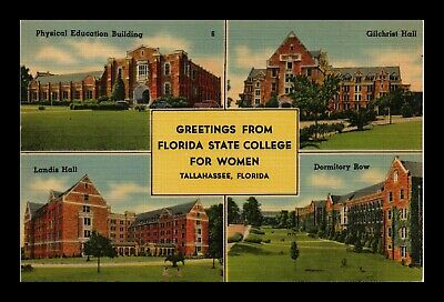 Dr Jim Stamps Us Florida State College For Women 4 Views Linen Postcard