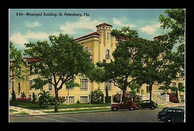 Dr Jim Stamps Us Postcard Municipal Building St Petersburg Florida Linen