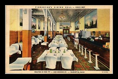Dr Jim Stamps Us Postcard Pinkertons Dining Hall Marietta Ohio Linen