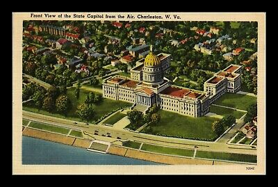 Dr Jim Stamps Us Charleston West Virginia State Capitol Air View Linen Postcard