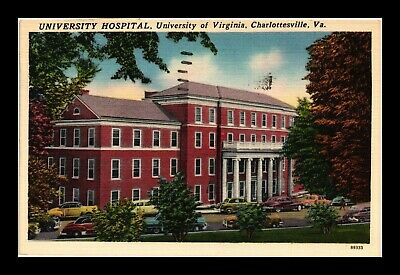Dr Jim Stamps Us Linen Postcard University Of Virginia Hospital Charlottesville