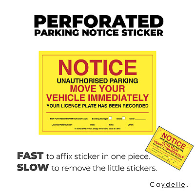 Vehicle Warning Stickers   Perforated A6 size   Australia   Car Violation Labels