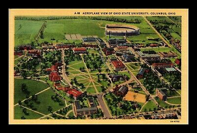 Dr Jim Stamps Us Postcard Aerial View Ohio State University Columbus Ohio Linen