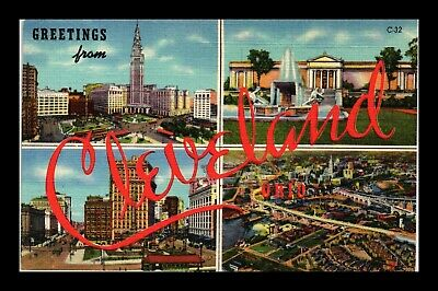 Dr Jim Stamps Us Postcard Greetings From Cleveland Ohio  Landmarks Linen