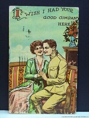 US Army Soldier WWI Era Camp Holabird Maryland Postcard Girl Military Romance