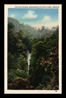 Dr Jim Stamps Us Postcard Falling Springs Shenandoah National Virginia Linen