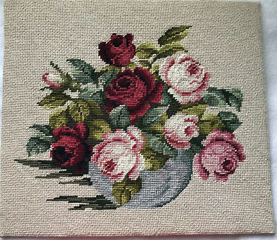 Finished needlepoint Roses in Bowl completed 15.5 x 13.5 burgundy pink green