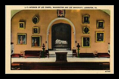 Dr Jim Stamps Us Postcard Interior Of Lee Chapel Lexington Virginia Linen