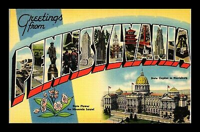 Dr Jim Stamps Us Postcard Large Letters Greetings From Pennsylvania Linen