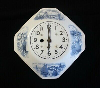 Miller 8 Day Delft Octagon Ceramic Plate Wall Clock with Key - not running