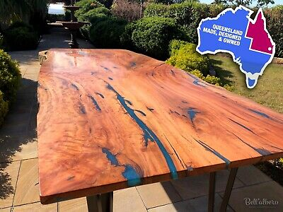 Custom New Dining Table 2.4m x 1m Blue Gum Timber / Wood and Resin, large slab