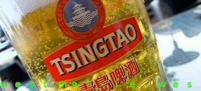 TWO TSINGTAO 16cl BEER / whisky GLASSES China