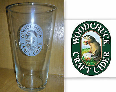 WOODCHUCK CRAFT CIDER 2/3 PINT GLASS and bottle opener VERMONT USA